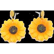 Korean Fashion Retro Fairy Sunflower Wild Exaggerated Flower Earrings For Women - 耳环 -