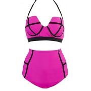 LA PLAGE Women's High Waist Plus size swimwear size US XX-Large deep red - Swimsuit - $24.99
