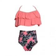LA PLAGE Women's Two-piece Sexy Ruffles Swimwear High Waist Flounce Bathing Suits - Swimsuit - $16.99