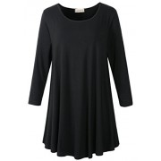 LARACE Women 3/4 Sleeve Tunic Top Loose Fit Flare T-Shirt(1X, Black) - Camisa - curtas - $16.99  ~ 14.59€