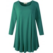 LARACE Women 3/4 Sleeve Tunic Top Loose Fit Flare T-Shirt(1X, Deep Green) - Shirts - $16.99  ~ £12.91