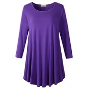 LARACE Women 3/4 Sleeve Tunic Top Loose Fit Flare T-Shirt(1X, Deep Purple) - Shirts - $16.99  ~ £12.91