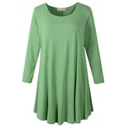 LARACE Women 3/4 Sleeve Tunic Top Loose Fit Flare T-Shirt(1X, Green) - Camisa - curtas - $16.99  ~ 14.59€