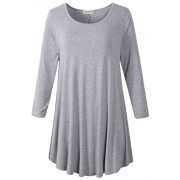 LARACE Women 3/4 Sleeve Tunic Top Loose Fit Flare T-Shirt(1X, Light Gray) - Camisa - curtas - $16.99  ~ 14.59€
