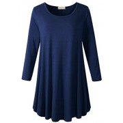 LARACE Women 3/4 Sleeve Tunic Top Loose Fit Flare T-Shirt(1X, Navy Blue) - Shirts - $16.99  ~ £12.91