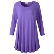 LARACE Women 3/4 Sleeve Tunic Top Loose Fit Flare T-Shirt(1X, Purple) - Shirts - $16.99  ~ £12.91