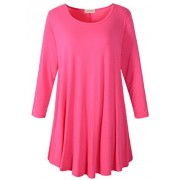 LARACE Women 3/4 Sleeve Tunic Top Loose Fit Flare T-Shirt(2X, Rosepink) - Shirts - $16.99  ~ £12.91