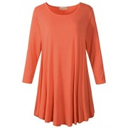 LARACE Women 3/4 Sleeve Tunic Top Loose Fit Flare T-Shirt(3X, Brick Red) - Shirts - $16.99  ~ £12.91