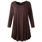 LARACE Women 3/4 Sleeve Tunic Top Loose Fit Flare T-Shirt(3X, Coffee) - Shirts - $16.99  ~ £12.91