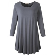 LARACE Women 3/4 Sleeve Tunic Top Loose Fit Flare T-Shirt(3X, Deep Gray) - Camisa - curtas - $16.99  ~ 14.59€