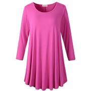 LARACE Women 3/4 Sleeve Tunic Top Loose Fit Flare T-Shirt(3X, Fushia) - Shirts - $16.99  ~ £12.91