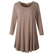 LARACE Women 3/4 Sleeve Tunic Top Loose Fit Flare T-Shirt(3X, Khaki) - Camisa - curtas - $16.99  ~ 14.59€
