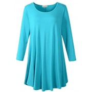 LARACE Women 3/4 Sleeve Tunic Top Loose Fit Flare T-Shirt(3X, Lake Blue) - Shirts - $16.99  ~ £12.91
