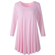 LARACE Women 3/4 Sleeve Tunic Top Loose Fit Flare T-Shirt(3X, Pink) - Shirts - $16.99  ~ £12.91
