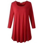 LARACE Women 3/4 Sleeve Tunic Top Loose Fit Flare T-Shirt(3X, Wine Red) - Camisa - curtas - $16.99  ~ 14.59€