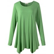 LARACE Womens Long Sleeve Flattering Comfy Tunic Loose Fit Flowy Top (2X, Green) - Shirts - $16.99  ~ £12.91