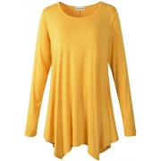 LARACE Womens Long Sleeve Flattering Comfy Tunic Loose Fit Flowy Top (M, Yellow) - Shirts - $16.99  ~ £12.91
