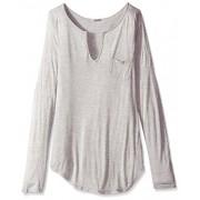 LAmade Women's Long Sleeve Open Henley Tee - Shirts - $35.32