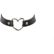 LEATHER HEART CHOKER - Necklaces -