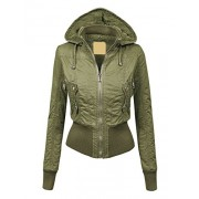 LL Womens Casual Inner Fleece Bomber Jacket with Removable Hoodie - Outerwear - $39.90