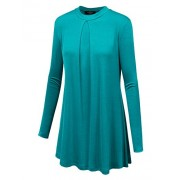 LL Womens Round Neck Long Sleeve Pleats Tunic Top - Made in USA - Shirts - $25.64