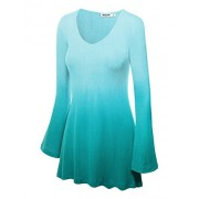 LL Womens Solid/Dip Dye V Neck Long Bell Sleeves Tunic Top Blouse - Made in USA - Camisas - $28.50  ~ 24.48€