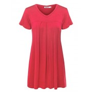 LL Womens V Neck Short Sleeve Pleats Tunic Top - Made in USA - Shirts - $22.79