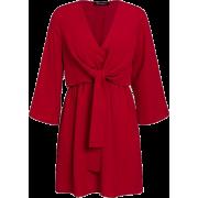 LONG SLEEVE FRONT TIE DRESS (3 Colors) - Dresses - $37.97
