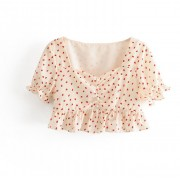 Lace Square Collar Short Strawberry Prin - Shirts - $25.99