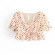 Lace Square Collar Short Strawberry Prin - Košulje - kratke - $25.99  ~ 165,10kn