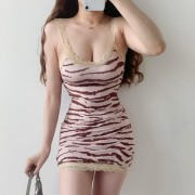 Lace V-neck backless seductive zebra pat - Dresses - $19.99