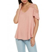 Lace Yoke Cold Shoulder Top - Top - $7.99