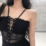 Lace sexy cutout see-through camisole straps jumpsuit - 连衣裙 - $27.99  ~ ¥187.54