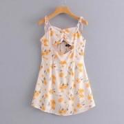 Lace-up pleated print strap print dress - Dresses - $25.99