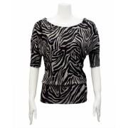 Ladies Black White Zebra Pattern Half Sleeve Top - Top - $17.50