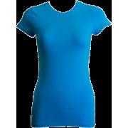 Ladies Blue Plain Sport T-Shirt Round Neck Cap Sleeves, Cotton Spandex - T-shirts - $4.90