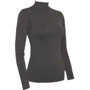 Ladies Charcoal Seamless Long Sleeve Turtleneck Top - Long sleeves t-shirts - $12.90