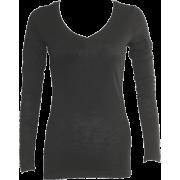 Ladies Cotton Slub Long Sleeve Black V-Neck Shirt - Long sleeves t-shirts - $7.50