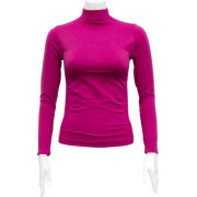 Ladies Fuchsia Seamless Long Sleeve Turtleneck Top - Long sleeves t-shirts - $12.90