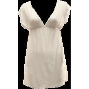 Ladies Ivory Color Deep V-Neck Tunic Dress, Elastic Waist Band - Dresses - $13.50