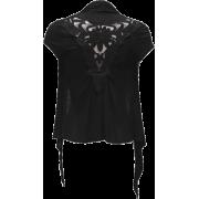 Ladies Lace Back Black Cap Sleeve Flyaway Cardigan - Cardigan - $18.50