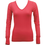 Ladies Pink Long Sleeve Thermal Top V-Neck - Long sleeves t-shirts - $8.70