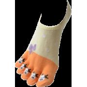 Ladies Premium Patterned Yellow Orange No Show Cut Toe Sock - Underwear - $7.50