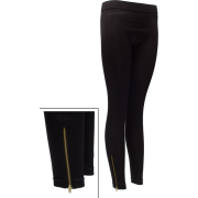 Ladies Zippered Leggings Black - Leggings - $14.50