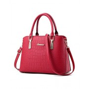 Lady Womens Crocodile Retro Stone Pattern Embossed PU Leather Top-Handle Handbag Tote Purse Shoulder Bags - Bag - $24.99