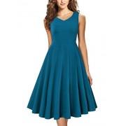 Laksmi Women Pleated V Neck Fit and Flare A Line Vintage Floral Midi Dress - Dresses - $39.99