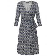 Laksmi Womens 3/4 Sleeve A Line V Neck Classy Vintage Print Casual Swing Dress with Belt - Dresses - $39.99
