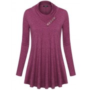 Laksmi Women's Cowl Neck Long Sleeve Loose Fit Casual Tunic Top - Shirts - $30.99