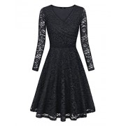 Laksmi Womens Elegant Floral Lace Long Sleeve Fit and Flare A Line Dress - Dresses - $49.99