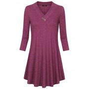 Laksmi Women's Flare Comfy Long Sleeve Tunic Dress Cross V Neck Loose Casual Long Tops - Shirts - $30.99